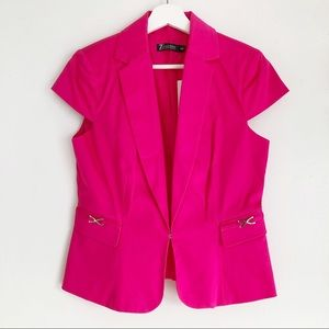 NEW YORK & CO Hot Pink Short-Sleeved Fitted Blazer